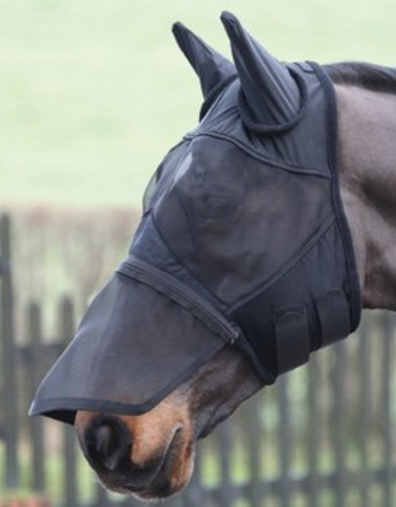 Shires Fly Mask w Ears and Zip Nose Black