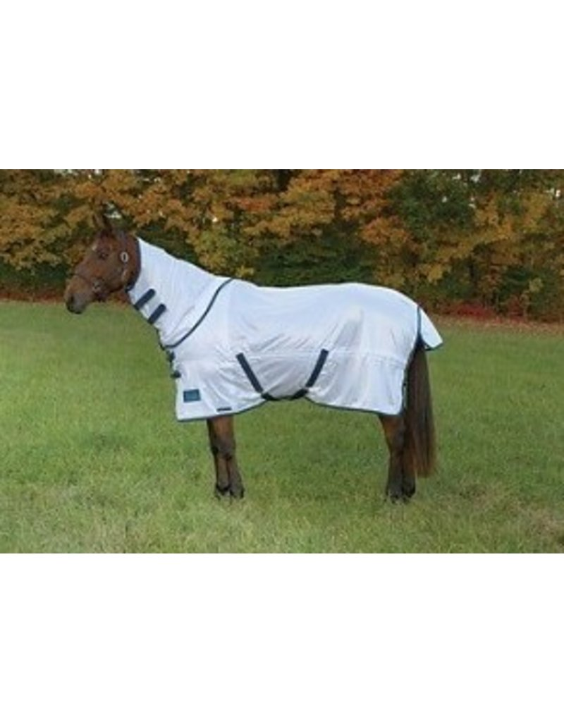 Shires Tempest Fly Sheet with Neck White/Turquoise