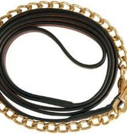 "Leather Lead with Chain Havana 3/4"" x 6'"