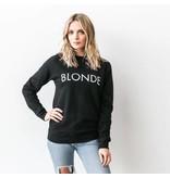 "Brunette The Label ""BLONDE"" Crew Sweatshirt Black"