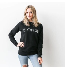 "Brunette The Label Brunette the Label ""BLONDE"" Crew Sweatshirt Black"
