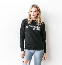 "Brunette The Label Brunette the Label ""NO CHAMPAGNE NO GAIN"" Crew Sweatshirt Black"