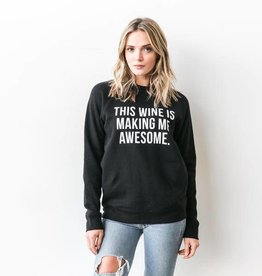 "Brunette The Label Brunette the Label ""THIS WINE IS MAKING ME AWESOME"" Crew Sweatshirt Black"