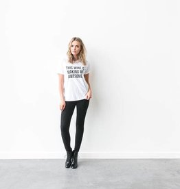 "Brunette The Label Brunette the Label ""THIS WINE IS MAKING ME AWESOME"" Crew Tee"