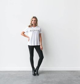 "Brunette The Label Brunette the Label ""BLONDE"" Crew Tee White"