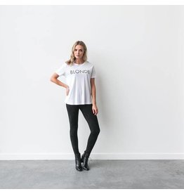 "Brunette The Label ""BLONDE"" Crew Tee White"