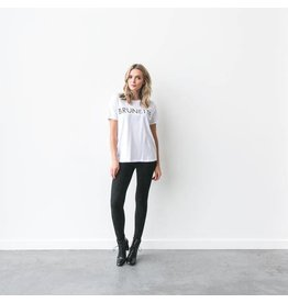 "Brunette The Label Brunette the Label ""BRUNETTE"" Crew Tee White"