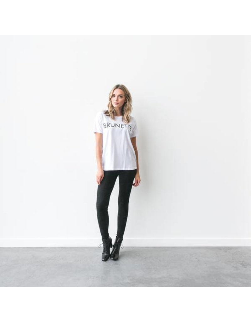 "Brunette The Label ""BRUNETTE"" Crew Tee White"