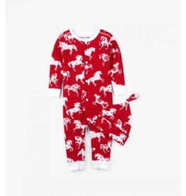 Hatley Hatley Infant Coverall and Cap - Horse Snowflakes