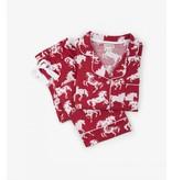 Hatley Women's Long Sleeve PJ Set Horse Snowflake