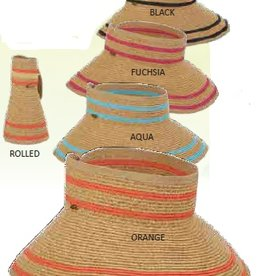 "Scala Scala 4"" Paper Braid Roll Up Visor with Stripe"