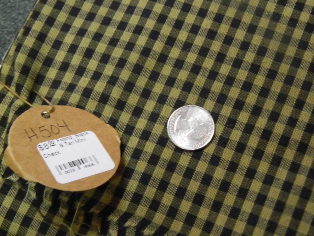 Fabric, Black & Tan Mini Check