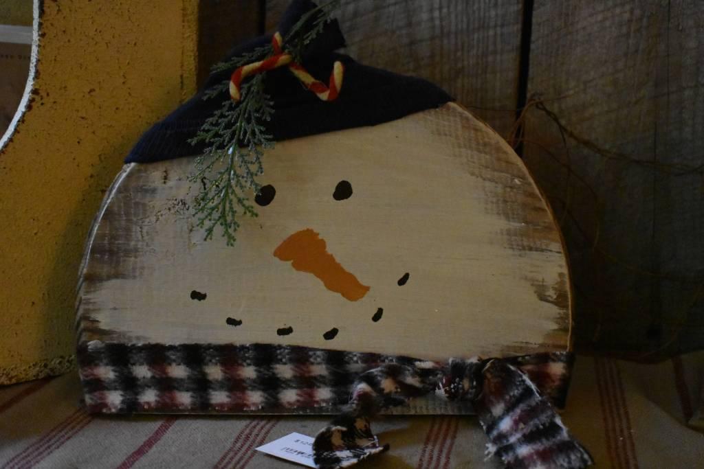 Homemade Barrel Lid Snowman