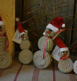 Homemade Wool Snowman Ornament
