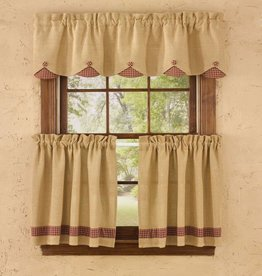 Park Designs Burlap & Red Check Scalloped Valance