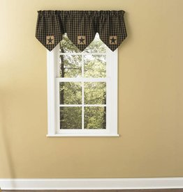 Park Designs Sturbridge Patch Lined Triple Point Valance, Black