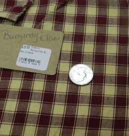 Fabric, Burgundy & Tan Check