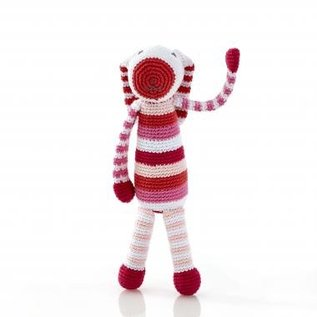 Pebble Pebble Rattle, Pink Stripe Bunny