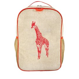 SoYoung Orange Giraffe Raw Linen Gradeschool Backpack