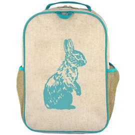 SoYoung Aqua Bunny Raw Linen Gradeschool Backpack