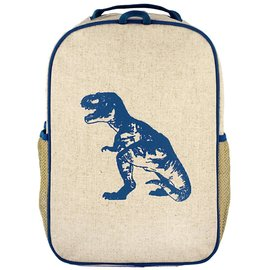 SoYoung Blue Dino Raw Linen Gradeschool Backpack