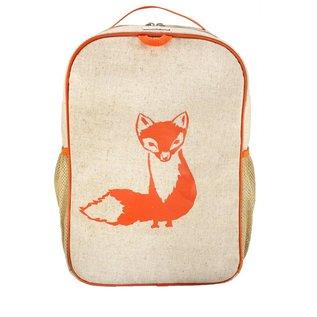 SoYoung Orange Fox Raw Linen Gradeschool Backpack