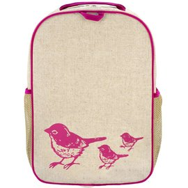 SoYoung Pink Birds Raw Linen Gradeschool Backpack