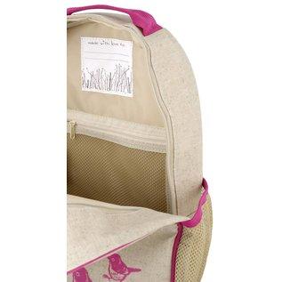 SoYoung Pink Birds Raw Linen Gradeschool Backpack