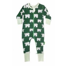 Parade Organics Organic Green Polar Bears 2-Way Zippered Romper