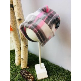 Jenna Fleece Beanie, Pink Buffalo Plaid