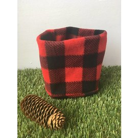Jenna Fleece Neckwarmer, Red Buffalo Plaid