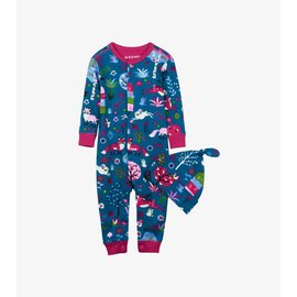 Little Blue House Infant Coverall & Cap, Mystical Forest