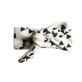 Baby Wisp Top Knot Headband, White & Black Geometric