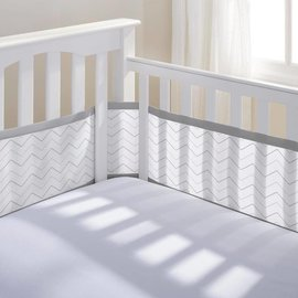 Breathable Baby Breathable Bumpers, Grey Chevron