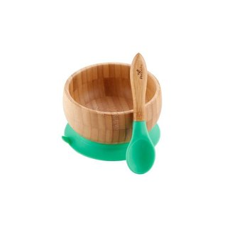 Avanchy Bamboo Green Bamboo Suction Bowl & Spoon Set