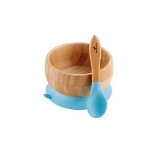Avanchy Bamboo Blue Bamboo Suction Bowl & Spoon Set