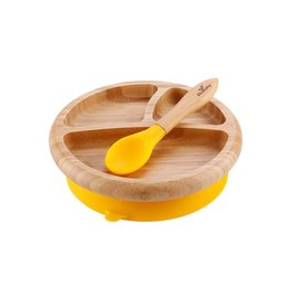 Avanchy Bamboo Yellow Bamboo Suction Plate & Spoon Set
