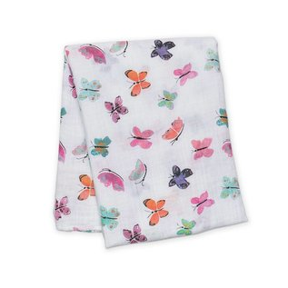 Lulujo Watercolour Butterfly Cotton Muslin Swaddle