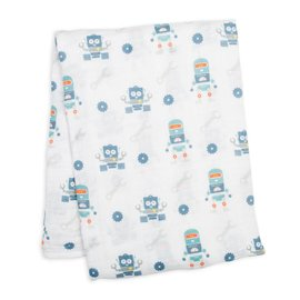 Lulujo Robots Cotton Muslin Swaddle