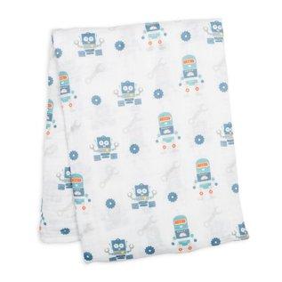 Lulujo Robots Cotton Muslin Swaddle