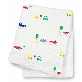 Lulujo Vroom! Cotton Muslin Swaddle