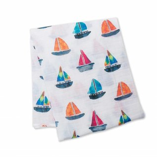 Lulujo Watercolour Sailboat Cotton Muslin Swaddle
