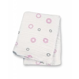 Lulujo Pink Circles Cotton Muslin Swaddle