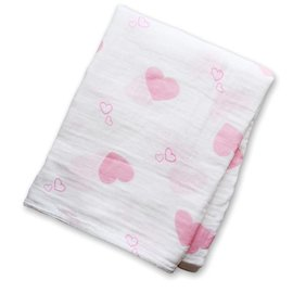 Lulujo Hearts Cotton Muslin Swaddle