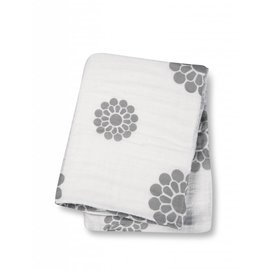 Lulujo Peonies Cotton Muslin Swaddle