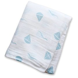 Lulujo Blue Sailboat Cotton Muslin Swaddle