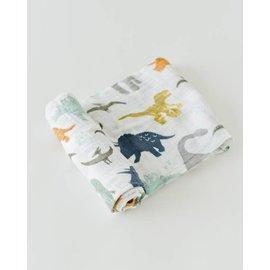 Little Unicorn Dino Friends Cotton Muslin Swaddle