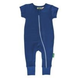 Parade Organics Cobalt Blue Organic Zippered Short Sleeve Romper