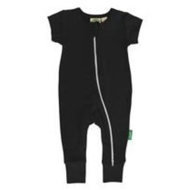 Parade Organics Black Organic Zippered Short Sleeve Romper