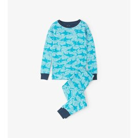Hatley Organic Shark Alley PJ Set